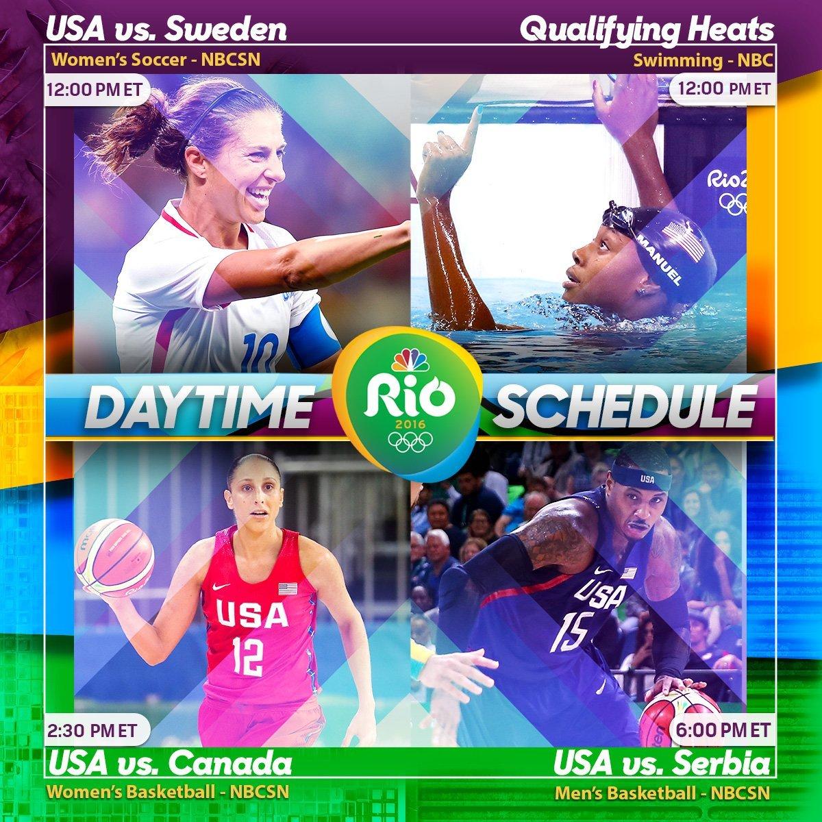 NBC Rio Olympics Daytime Schedule