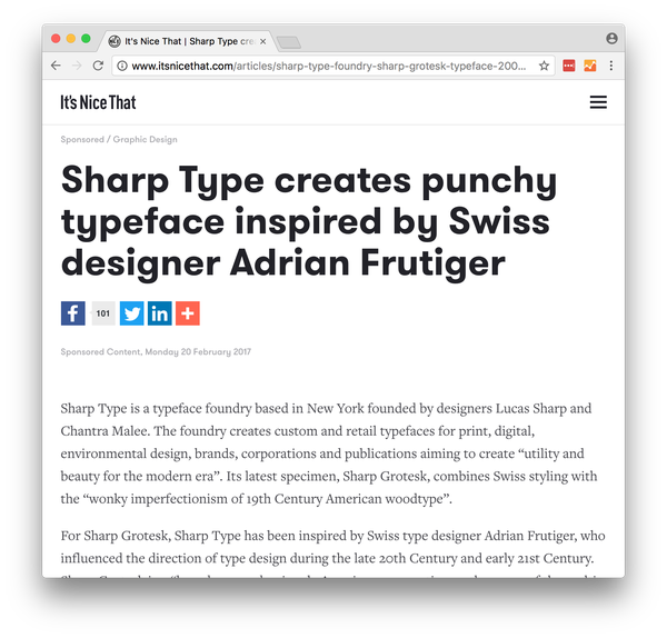 Its Nice That article: Sharp Grotesk